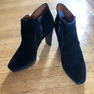 CALVIN KLEIN PLATFORM SUEDE AND LEATHER BOOTIES